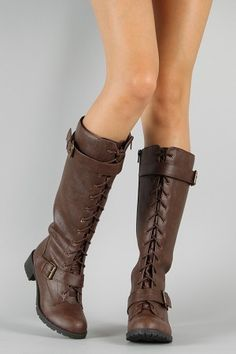 Soda Elli-S Buckle Military Lace Up Knee High Boot