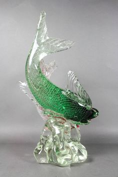 Murano Glass Sculpture Of Two Fish By Barbini 7
