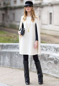 Trending #Cape at FW 2014 #Fashion Weeks: Cream-white cape-dress street style during Fall Winter 2014 PFW.