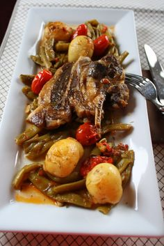 Rustic Greek Lamb~ with Greens Beans, New Potatoes, Carrots and Tomato