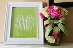 mantle decor for Monograms and Margaritas Bridal Shower