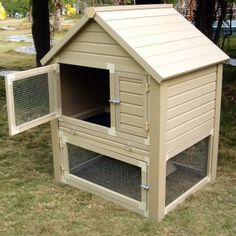 Huntington Natural Cedar Townhouse Rabbit Hutch with Pen at Hayneedle