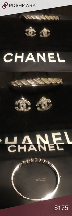 New real diamond pave earrings & bangle New faux diamond Chanel pave rhodium plated earrings and stainless steel  pave diamond bangle bracelet diamond Jewelry Bracelets