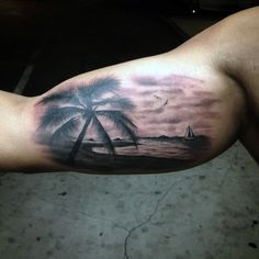 Beach tattoo on the arm. Flaunt your beach body by putting your very own beach tattoo on your arm. You can pick small designs like these that fit into the space of the arm yet give a lot of beautiful details of the beach.