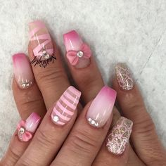 Pink ombre coffin nails with design