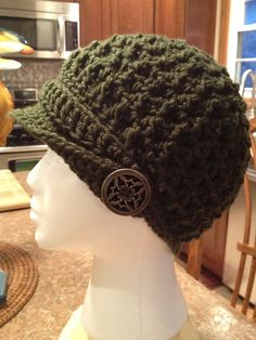 Newsboy Hat,  Green, Crochet on Etsy, $30.00