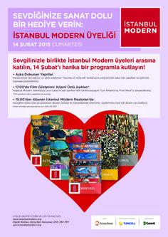 Sevdiğinize 1 yıl boyunca geçerli olacak İstanbul Modern Üyeliği hediye edin, birlikte sanat dolu bir yıl geçirin. Ayrıca, İstanbul Modern'in üyelere özel Sevgililer Günü programına katılın, sürpriz hediyelerle dolu unutulmaz bir gün yaşayın.