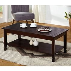 Simple Living Ethan Cocktail Stationary Lower Shelf Coffee Table Brown  Rectangular    Click Image To
