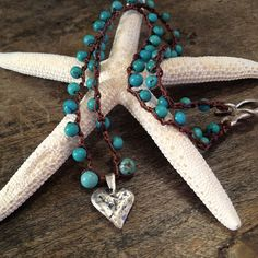 Turquoise Silver Heart Crochet Necklace Beach by TwoSilverSisters