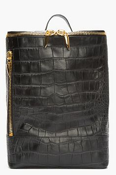 GIUSEPPE ZANOTTI Black Croc-Embossed Leather Navako Backpack