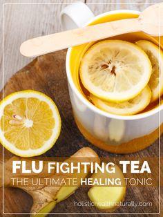 Flu Fighting Tea Recipe (Andrew's Hot Lemon) Flu Fighting Tea. The Ultimate Healing Tonic! Flu Remedies, Herbal Remedies, Health Remedies, Bloating Remedies, Cold Remedies Fast, Healthy Drinks, Healthy Recipes, Detox Drinks, Juice Drinks