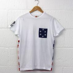 Franklin & Marshall Stars and Stripes T-Shirt - American flag on back. #FRANKLIN &MARSHALL #tshirt #american #flag