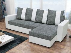 Rohová sedačka PRAGA, šedá látka/bílá ekokůže Rohová sedačka PRAGA Obrázky rozložené sedačky jsou ilustrativní (jiná barva)! Sedačka je univerzální = roh lze smontovat na pravý i levý. Zadní část sedačky je potažená látkou, je tedy … Couch, Furniture, Home Decor, Settee, Decoration Home, Sofa, Room Decor, Home Furnishings, Sofas