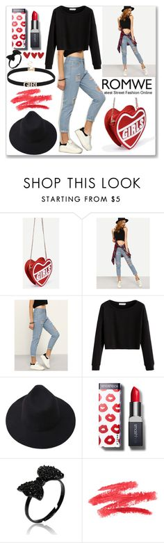 """Romwe High Waist Ripped Denim Pant"" by ludmyla-stoyan ❤ liked on Polyvore featuring Smashbox"