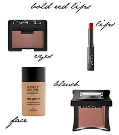 Products for bold red lips makeup look
