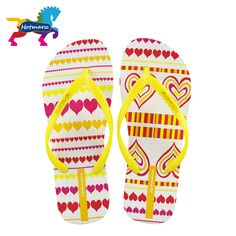 ebd2a99f948337 Hotmarzz Women Anti-skid Comfy Heart Love Print Flip Flops Shoes Thong  Sandals Summer Beach Flip-flop Home House Slippers