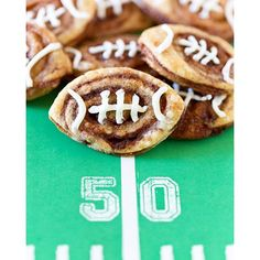 Football Cinnamon Roll Cookies. Lifeeee changing!  Recipe link in profile.