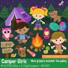 Camper Girls  Clip Art and Digital paper set
