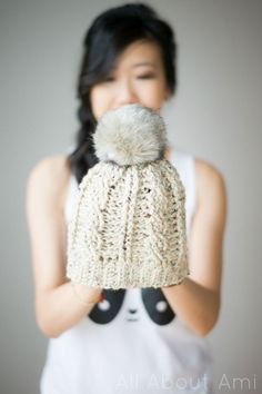 Cabled beanie free #crochet hat pattern from All About Ami