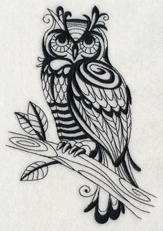 Sage Owl (Blackwork). Swirling patterns make this one-color owl design a unique addition to shirts, lightweight towels, tote bags, etc.