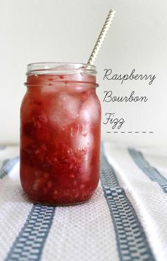 Raspberry Bourbon Fizz - Raspberries, Bourbon, Triple Sec, Ginger Ale.