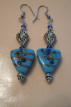 Earrings Lampworked & Copper with Sterling by BrendasBeading, $9.95