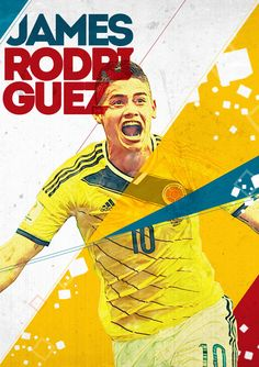 World Cup 2014 Posters by Evandro Salmeirão, via Behance James Rodriguez Colombia, Football Design, Football Art, Soccer Poster, Poster S, Fifa, James Rodrigues, Madrid Football Club, Sports Graphic Design