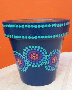 Navy & Turquoise. Hand painted flowerpots. Macetas pintadas a mano. Facebook: A'cha Pots. achapots@hotmail.com