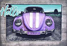 Card by Belinda Spencer using Darkroom Door VW Beetle Photo Stamp.