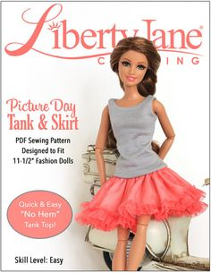 """PICTURE DAY SKIRT & TANK FOR 11-1/2"""" FASHION DOLLS"""
