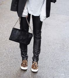 Leopard and leather.