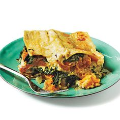 Butternut squash, carmelized onion and spinach lasagna