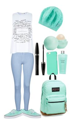 """""""It's Complicated"""" by sarawaraa ❤ liked on Polyvore featuring Topshop, River Island, Vans, Victoria's Secret, Mary Kay, Eos and JanSport"""