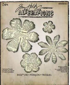 Sizzix - Tim Holtz - Bigz Die - Alterations Collection - Die Cutting Template - Tattered Florals
