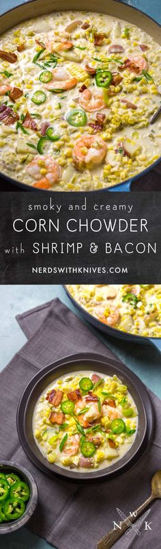 Our Corn Chowder combines sweet corn and smoky bacon in a creamy broth, dotted with lightly poached shrimp and sliced jalapeños.