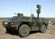 """It is an armored reconnaissance vehicle of the type """"Fennec"""".  Its characteristics: lower section, wide track, a crew of three - and an extendable, removable camera mast."""