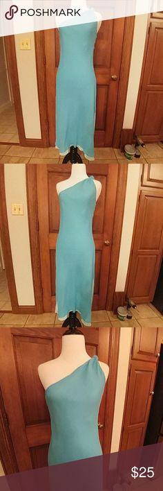 Express Silk One Shoulder Dress Express Sky Blue Midi Dress. Shell 100% Silk. - Pale Blue Lining 100% Polyester. Express Dresses One Shoulder