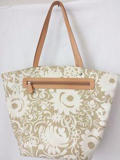Canvas Tote Bag Reversable Beige Brown Print or Stripes Bucket Style #reversable #brown #ToteBucket