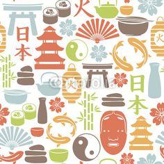 ベクター: seamless pattern with asian icons点