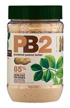 PB2 Powdered Peanut Butter - 85% less fat calories.   - Add to smoothies  - Add to protein drink  - Mix with jelly for P&J sandwich  - Dip fruit in the powder  - Use in recipes  2 tsp 53 calories!