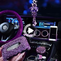 Purple Crystal Car Ornaments Decoration Rhinestone Steering Wheel Cover for Girls Car Ashtray Pendant Interior Car Accessories - Cars Bester List Pink Car Interior, Best Car Interior, Car Interior Upholstery, Car Interior Decor, Interior Paint, Interior Design, Car Interior Accessories, Car Accessories For Girls, Girly Car