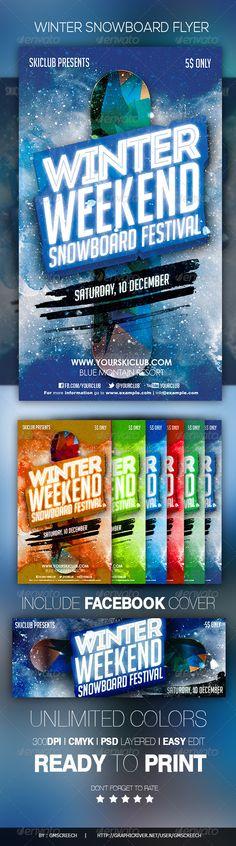 Winter Snowboard Flyer Template PSD #design Download: http://graphicriver.net/item/winter-snowboard-flyer/6043004?ref=ksioks