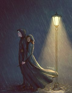 Dramione at its best, strength and support. This is one reason why you gravitate time and again to this Pair  Title - Rain down on me by  upthehillart