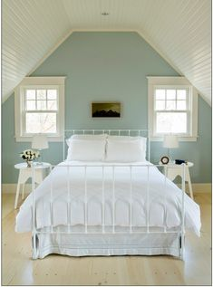 Pretty attic bedroom. I just love how simple this room is, anyone can have this.