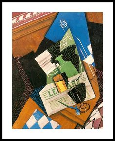 Juan Gris - Still Life with Water Bottle, Bottle and Fruit Dish, 1915 Georges Braque, Pablo Picasso, Rene Magritte, Spanish Painters, Spanish Artists, Canvas Art, Canvas Prints, Art Prints, Francis Picabia