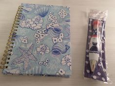 SEASHELL JOURNAL DIARY NOTEBOOK + AHOY GIRLIE PEN NAUTICAL COASTAL BLUE & WHITE