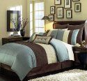"""Chezmoi Collection 90 x 92-Inch 8-Piece Luxury Stripe Comforter Bed-in-a-Bag Set, Queen, Blue/Beige/Brown   Piece Comforter: 90""""x92""""; 2 Pieces shams 20"""" x 26"""" 1 Piece Bed Skirt 60"""" x 80"""" + 14""""; 2 Pieces Euro shams 26"""" x 26"""" 1 Piece Breakfast Pillow 12""""x 18""""; 1 Piece Square Pillow 18"""" x 18"""" Price:$63.99"""
