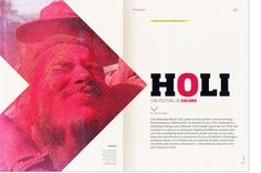Revista Dale by Gonzalo Nogues, via Behance. The large graphic picture on the left pointing to the right is awesome and is tied in by the red O.
