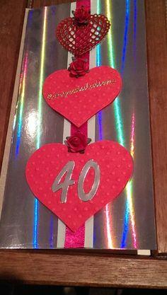 Ruby wedding anniversary card.