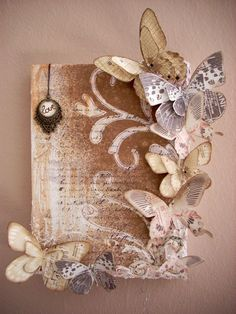 Butterfly canvas **Vinnie Pearce - Art On Wings** - Two. Butterfly canvas **Vinnie Pearce – Art On Wings** – Two… Book Crafts, Diy And Crafts, Arts And Crafts, Burlap Crafts, Altered Canvas, Altered Art, Paper Butterflies, Paper Flowers, Beautiful Butterflies